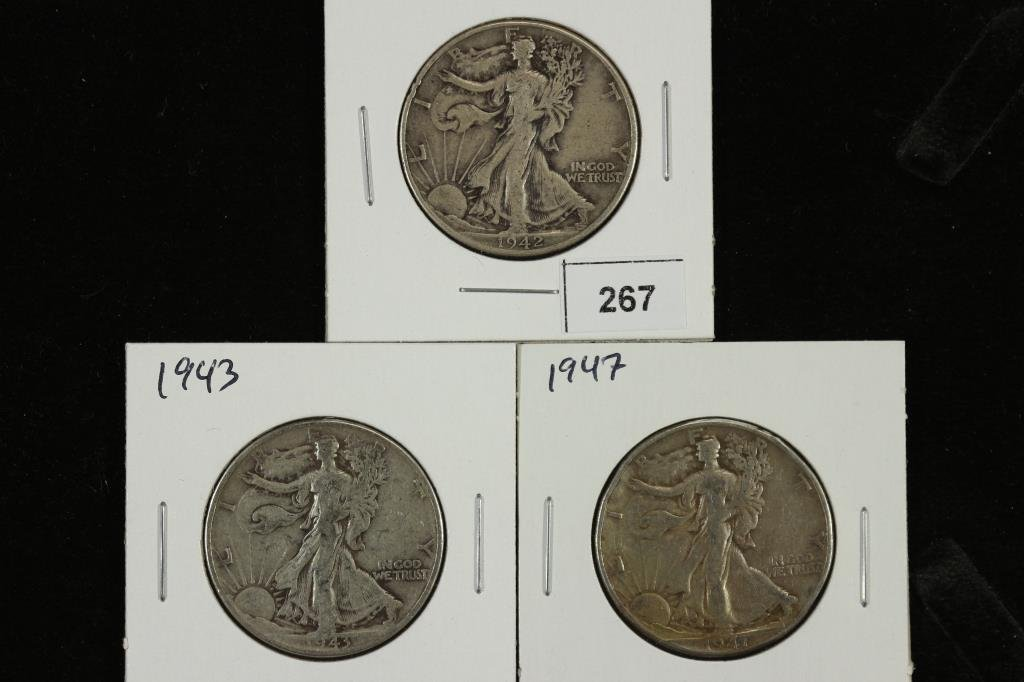 1942,43 & 47 WALKING LIBERTY HALF DOLLARS