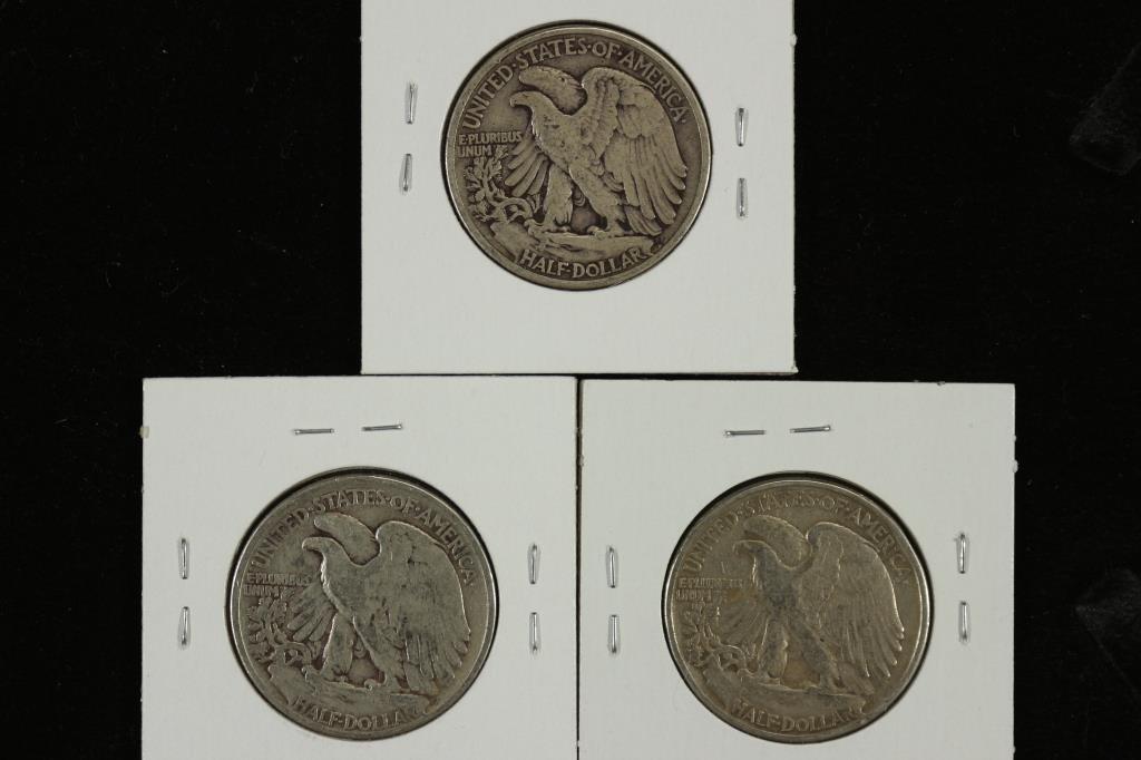 1942,43 & 47 WALKING LIBERTY HALF DOLLARS - 2
