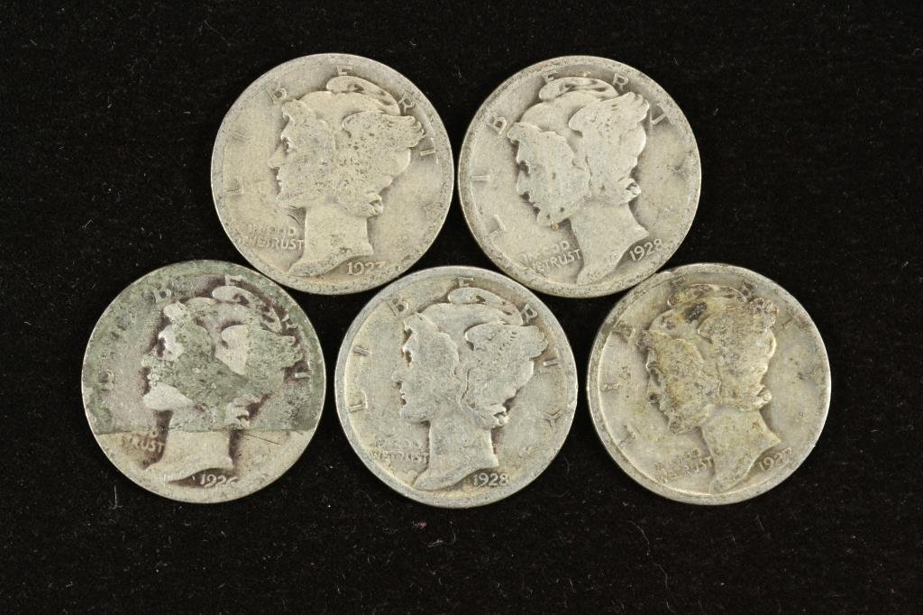 5 ASSORTED 1920'S MERCURY DIMES