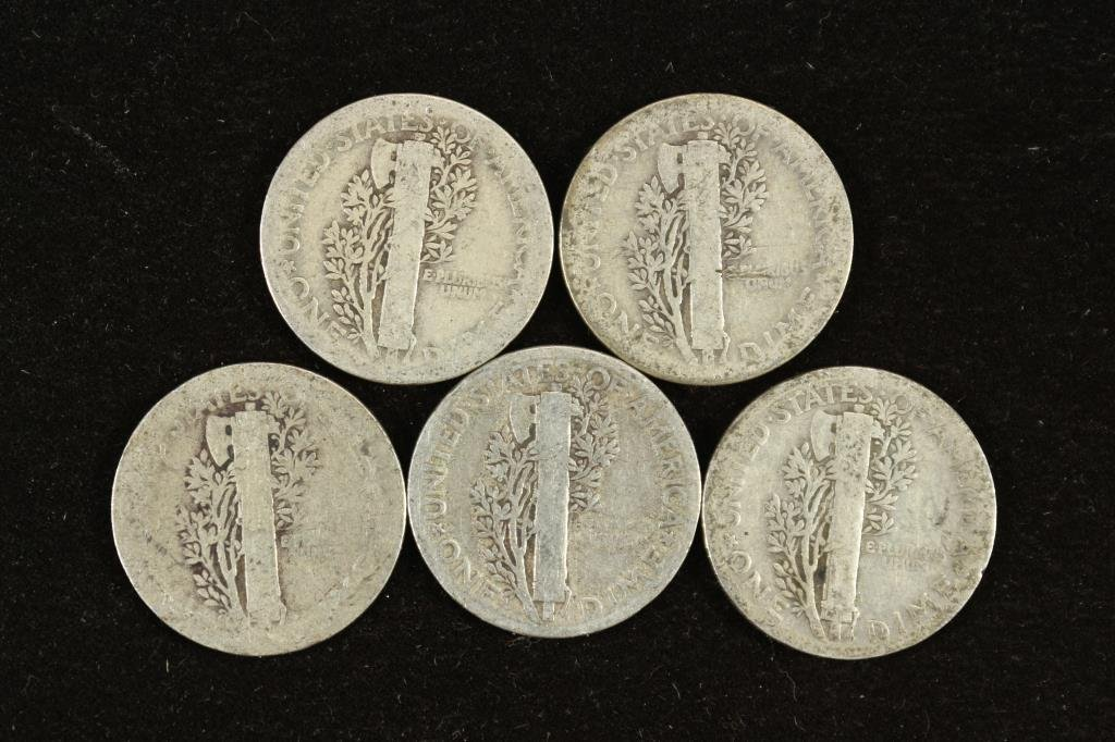 5 ASSORTED 1920'S MERCURY DIMES - 2