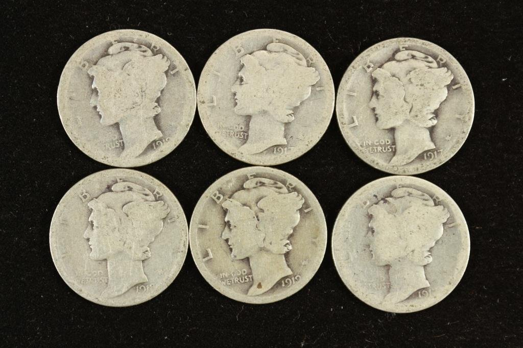 6 ASSORTED TEEN'S MERCURY DIMES