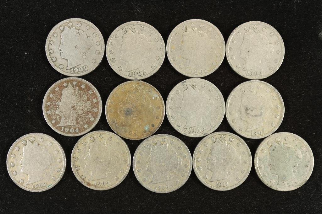 "13 DIFFERENT DATE LIBERTY ""V"" NICKELS 1900-1912"