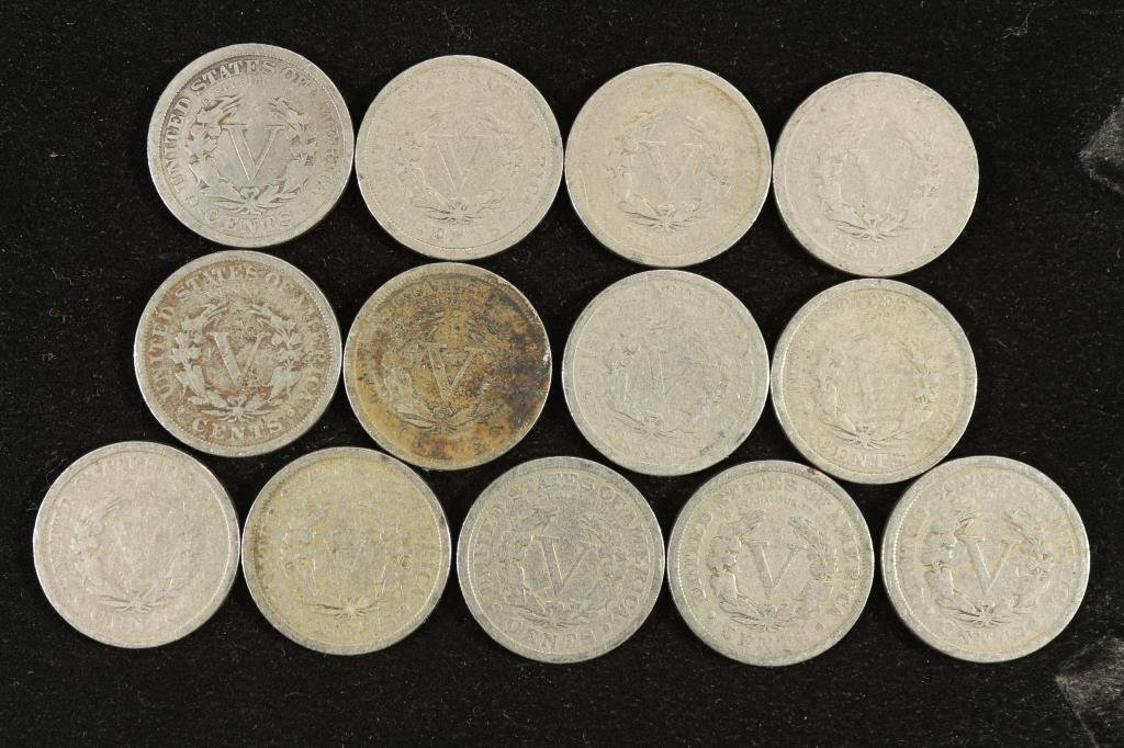 "13 DIFFERENT DATE LIBERTY ""V"" NICKELS 1900-1912 - 2"