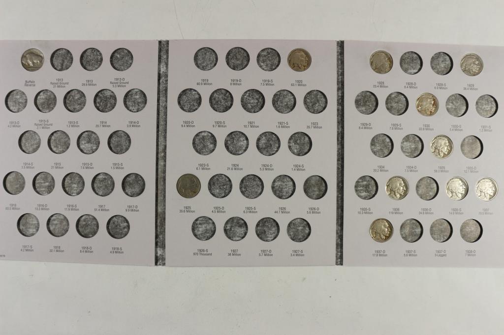 PARTIAL 1913-1938 BUFFALO NICKEL ALBUM 11 COINS
