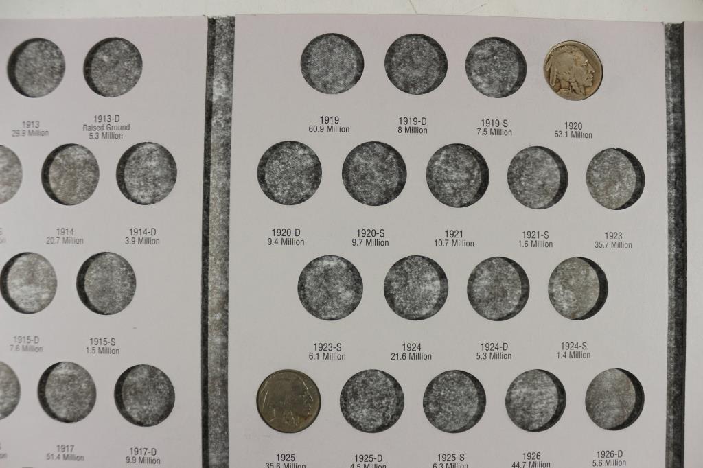 PARTIAL 1913-1938 BUFFALO NICKEL ALBUM 11 COINS - 3