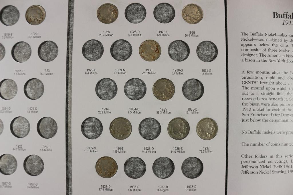PARTIAL 1913-1938 BUFFALO NICKEL ALBUM 11 COINS - 4