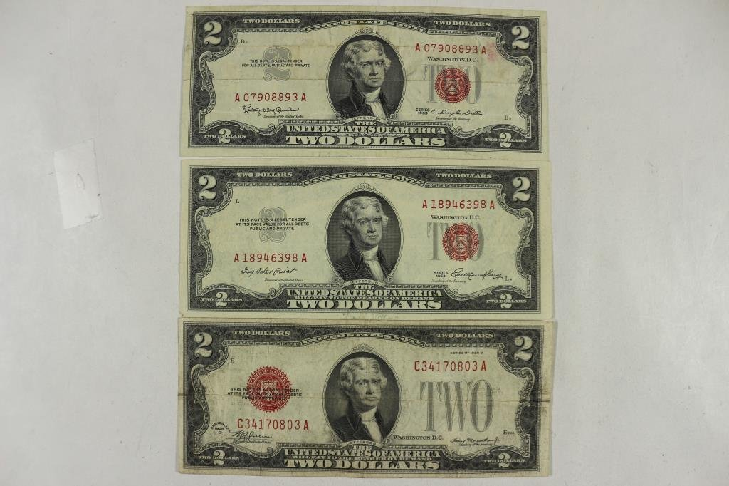 1928-D,53 & 63 $2 UNITED STATES NOTES RED SEALS