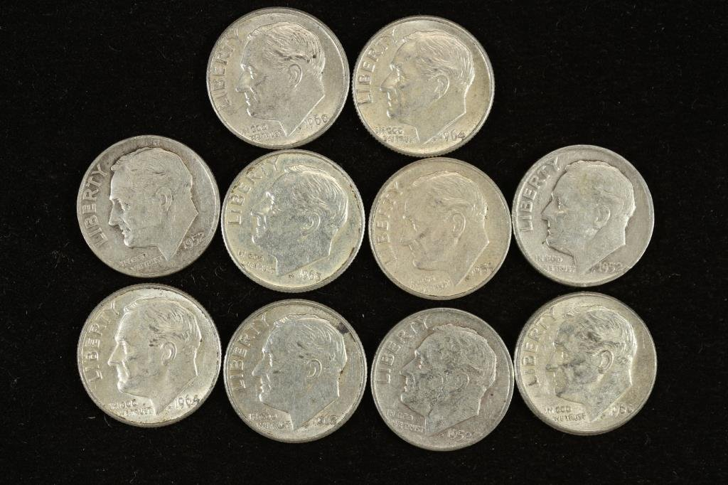 10 ASSORTED SILVER ROOSEVELT DIMES