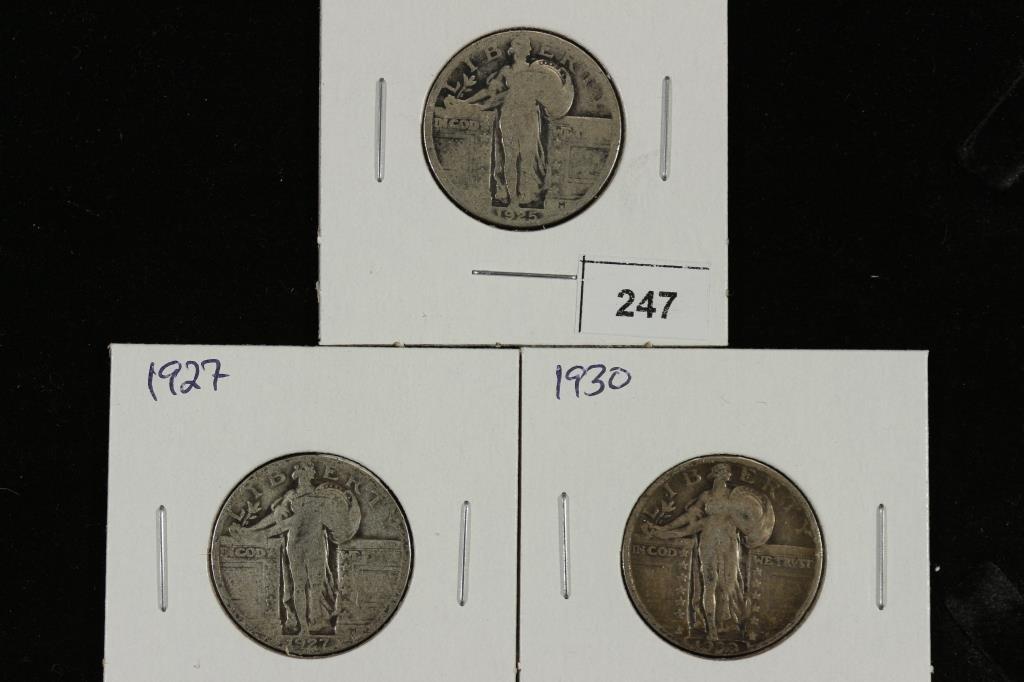 1925,27 & 1930 STANDING LIBERTY QUARTERS