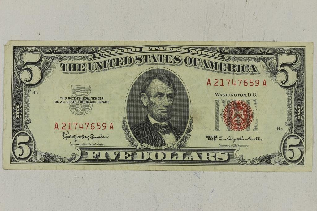 1963 $5 US NOTE RED SEAL