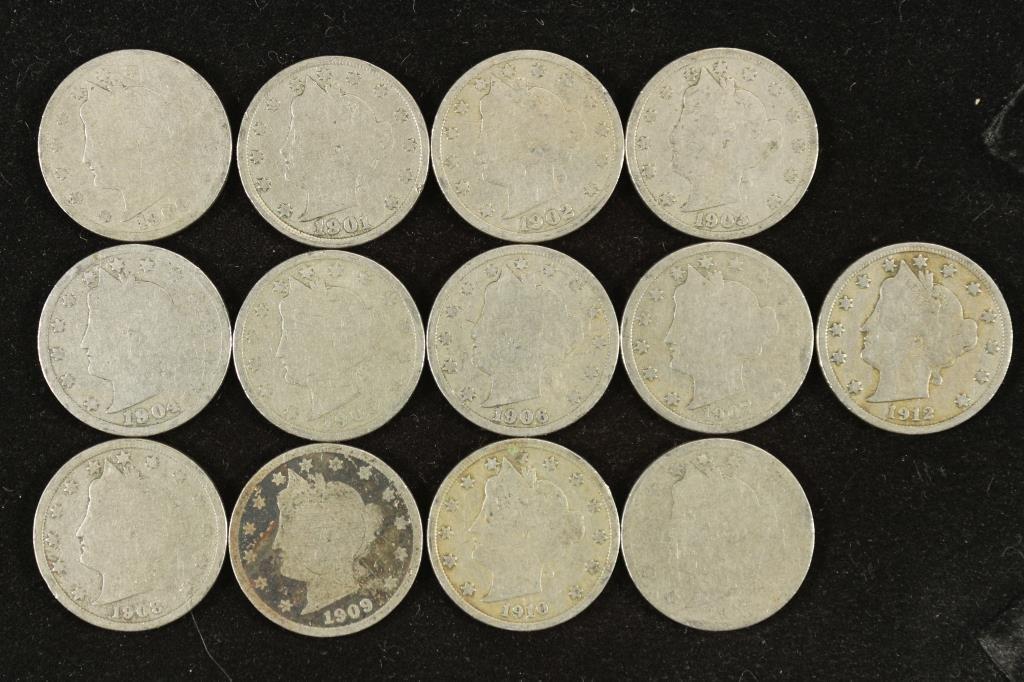 """STARTER SET OF 13 LIBERTY """"V"""" NICKELS 1900-1912"""