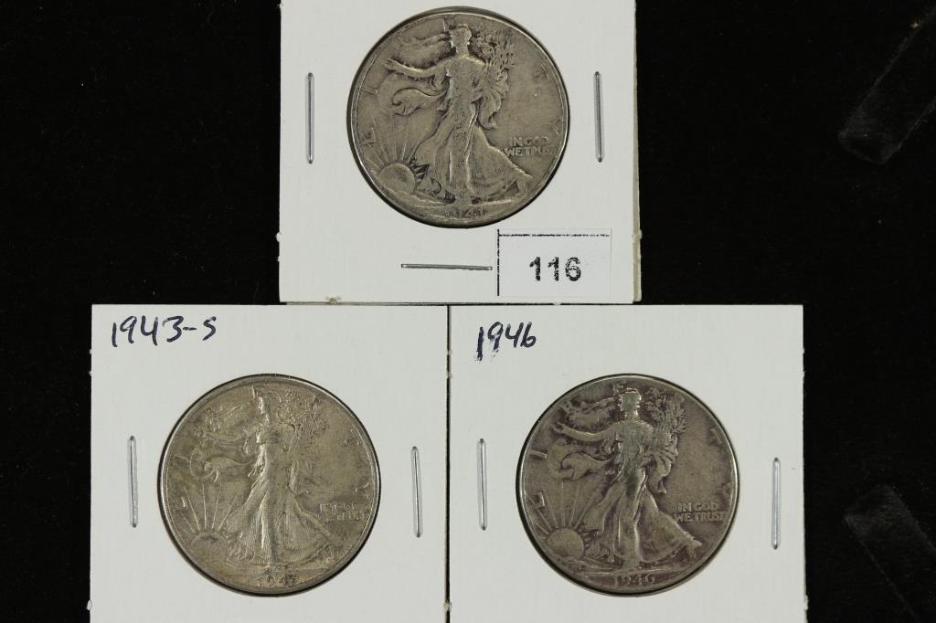 1941,43-S & 46 WALKING LIBERTY HALF DOLLARS