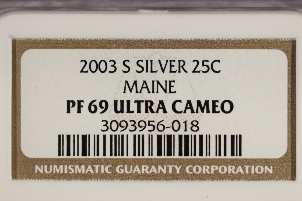 2003-S SILVER MAINE QUARTER NGC PF69 ULTRA CAMEO - 3