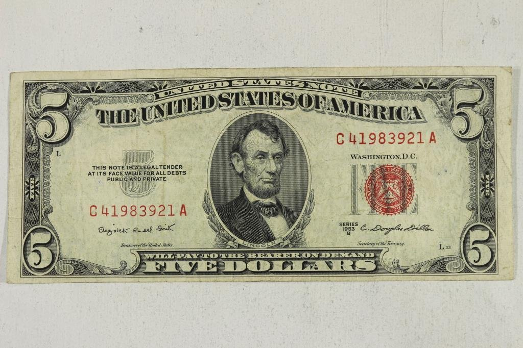1953-B $5 US NOTE RED SEAL