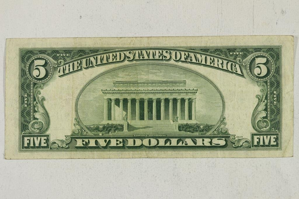 1953-B $5 US NOTE RED SEAL - 2