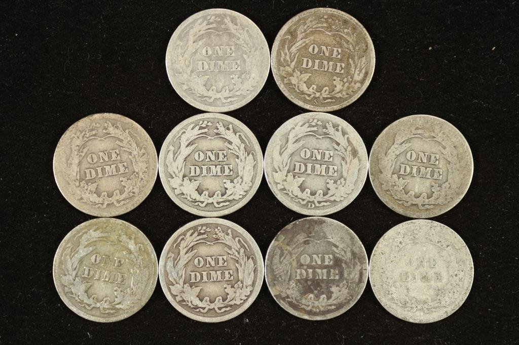 10 ASSORTED BARBER DIMES - 2
