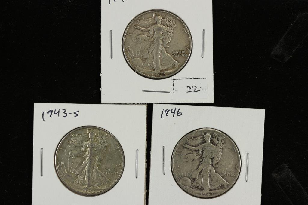 1942,43-S & 46 WALKING LIBERTY HALF DOLLARS