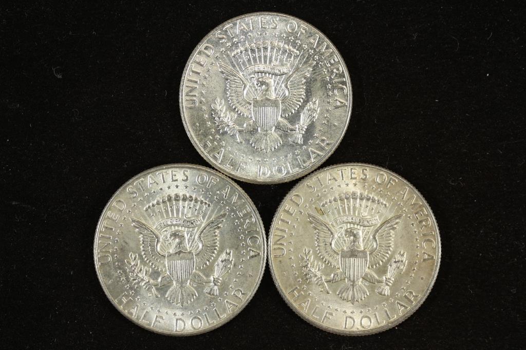 3 ASSORTED 1964 90% SILVER KENNEDY HALF DOLLARS - 2
