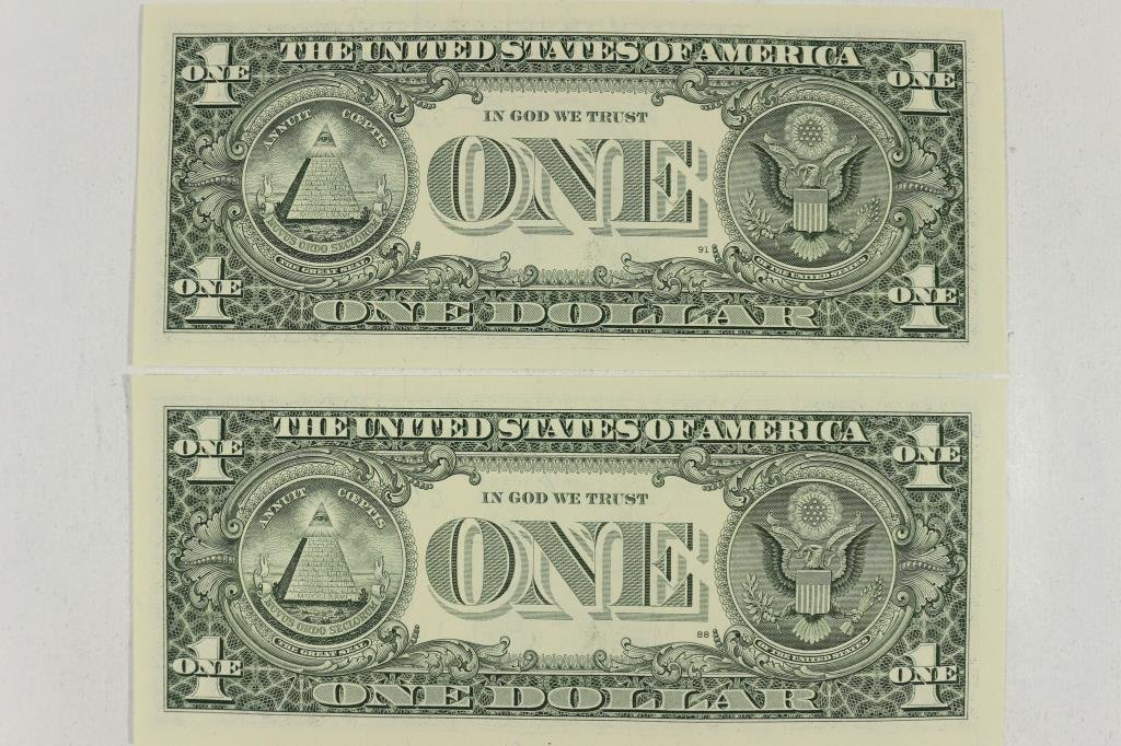 2-2003-A $1 FRN'S LOW CONSECUTIVE SERIAL 'S UNC - 2