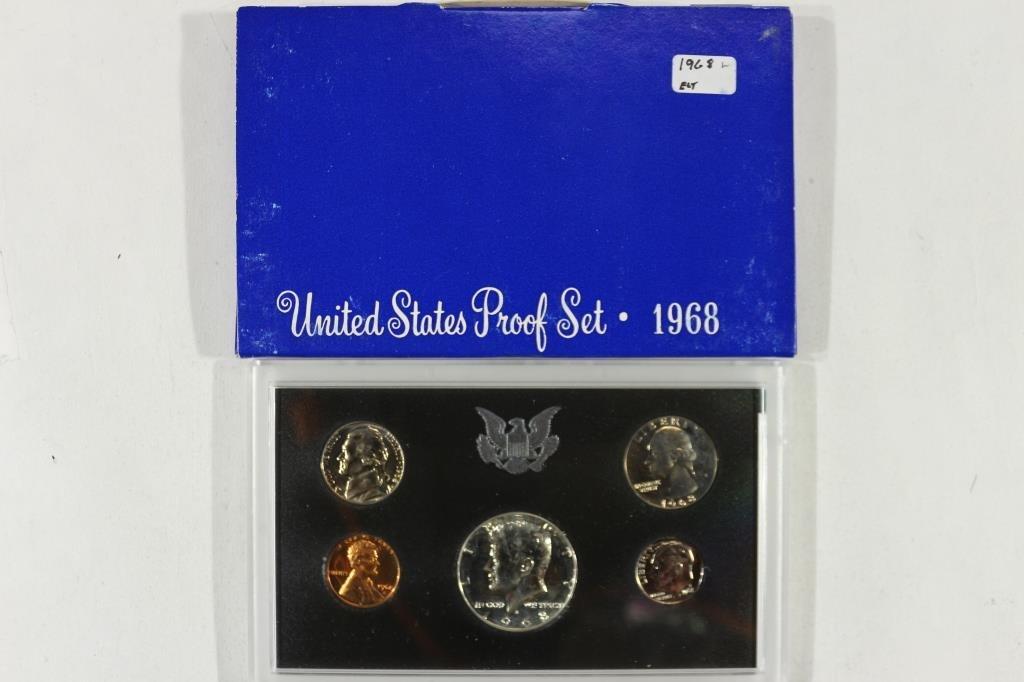1968 US PROOF SET WITH BOX, 40% SILVER JFK HALF