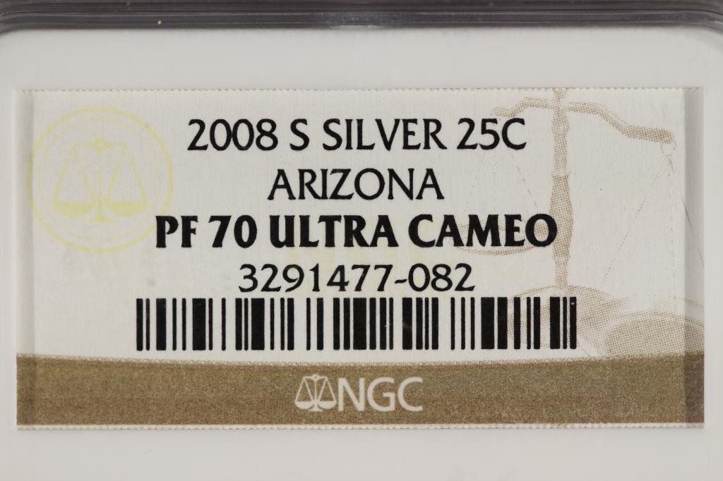 2008-S  SILVER ARIZONA  QUARTER NGC PF70 ULTRA CAM - 3