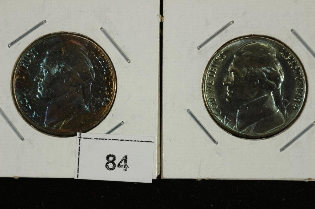 GREAT BLUE TONING ON 63-D & 64-D JEFFERSON NICKELS