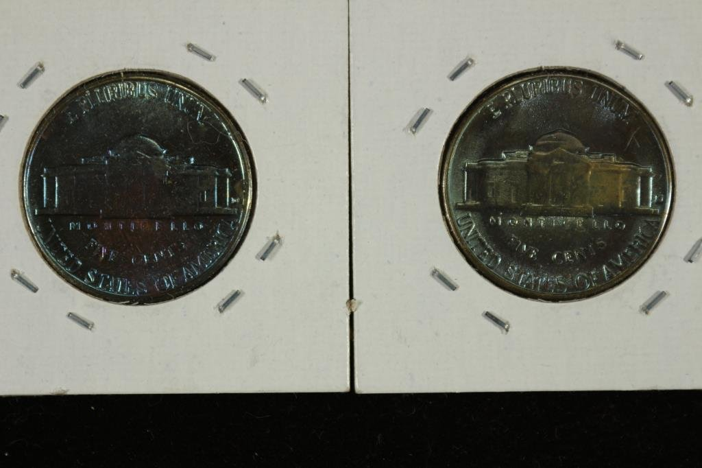 GREAT BLUE TONING ON 63-D & 64-D JEFFERSON NICKELS - 2