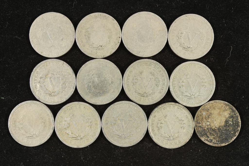 """STARTER SET OF 13 LIBERTY """"V"""" NICKELS 1900-1912 - 2"""