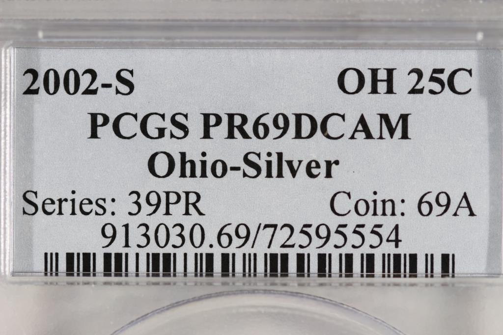 2002-S SILVER OHIO QUARTER PCGS PR69 DCAM - 3