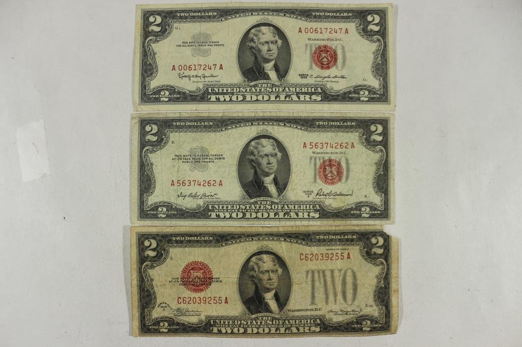 1928-D,53-A & 63 $2 US  RED SEAL NOTES