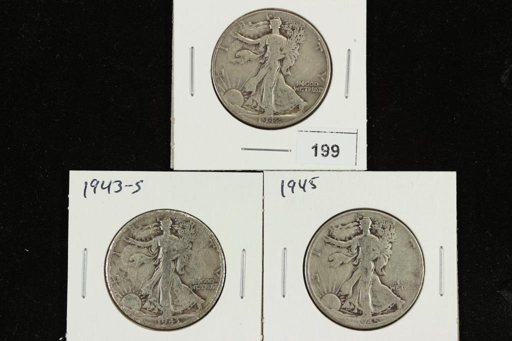 1942,43-S & 45 WALKING LIBERTY HALF DOLLARS