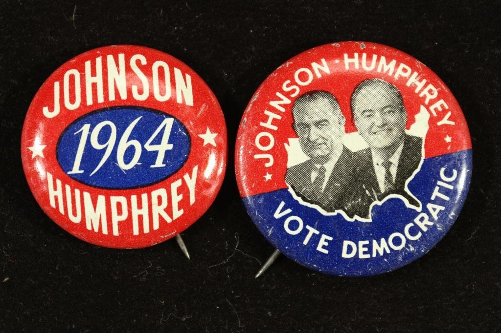 2-1964 JOHNSON-HUMPHREY DEMOCRATIC BUTTONS