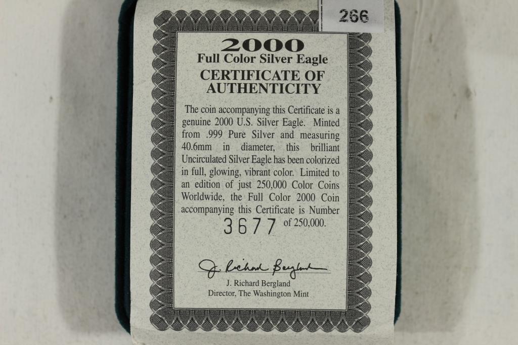 2000 COLORIZED AMERICAN SILVER EAGLE UNC - 3