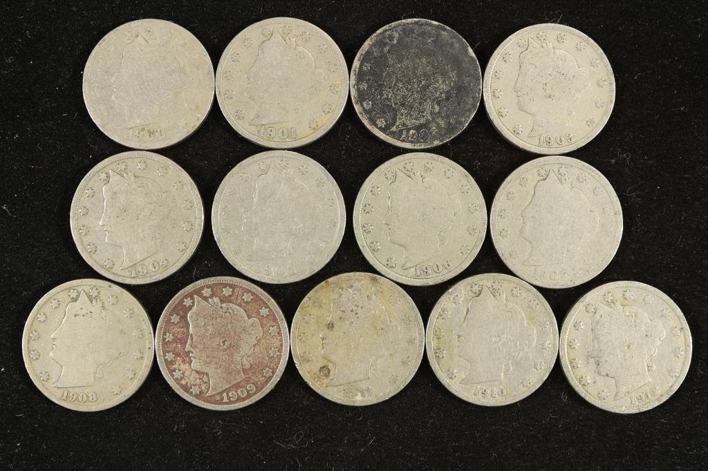 "STARTER SET OF LIBERTY ""V"" NICKELS 1900-1912"