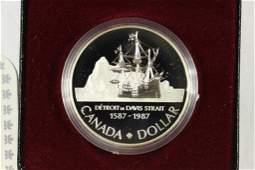 1987 CANADA DAVIS STRAIT SILVER DOLLAR PROOF