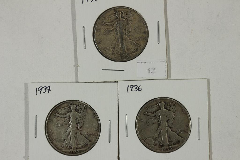 1935 & 36 & 1937 WALKING LIBERTY HALF DOLLARS
