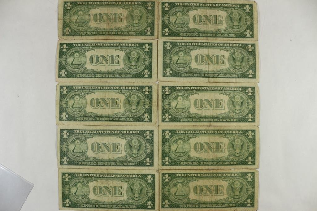 10 ASSORTED 1935 $1 SILVER CERTIFICATES - 2