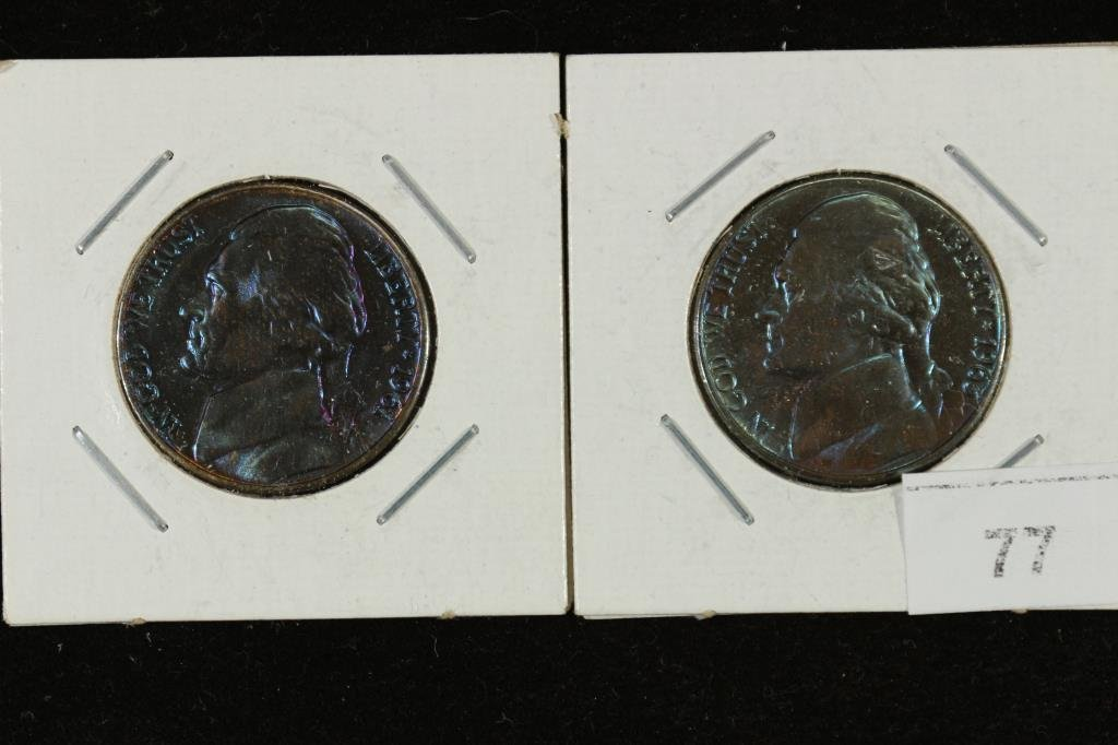GREAT BLUE TONING 1961-D & 1963-D JEFFERSON NICS