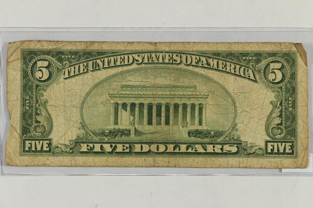 1934-D $5 SILVER CERTIFICATE BLUE SEAL - 2