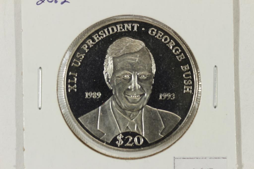 2000 LIBERIA $20 20.2 GRAM .999 FINE SILVER PROOF