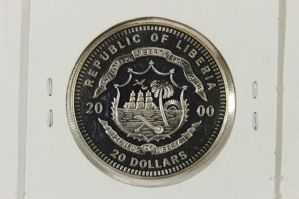 2000 LIBERIA $20 20.2 GRAM .999 FINE SILVER PROOF - 2