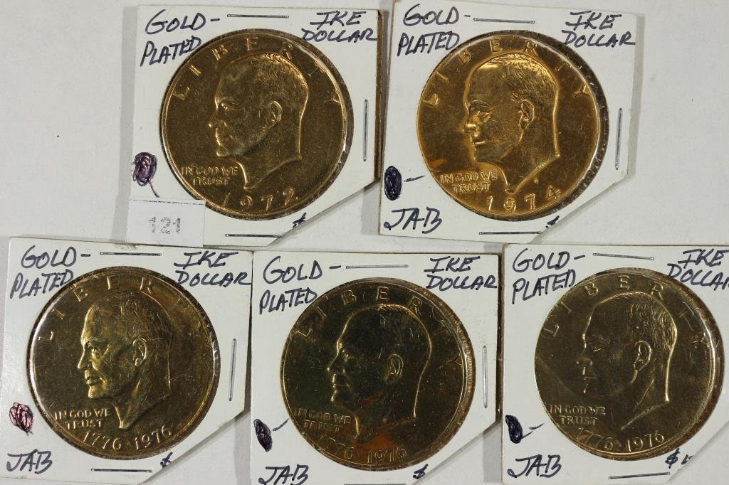 5 GOLD PLATED IKE DOLLARS