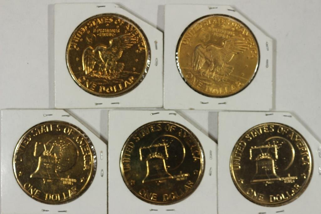 5 GOLD PLATED IKE DOLLARS - 2