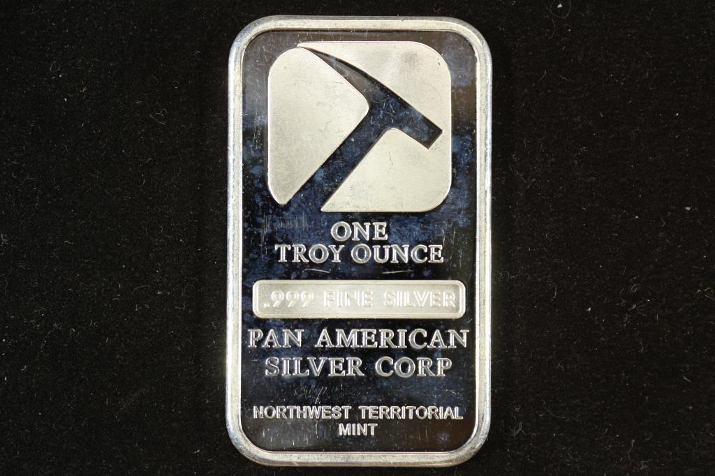 1 TROY OZ .999 FINE SILVER INGOT PAN AMERICAN
