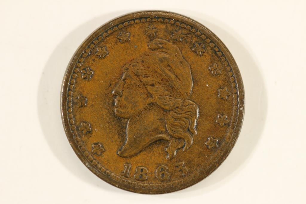 """1863 CIVIL WAR TOKEN  """"ARMY & NAVY"""""""