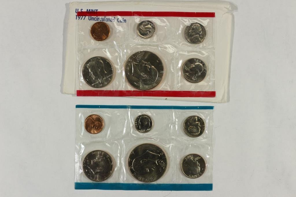 1977 US MINT SET (UNC) P/D (WITH ENVELOPE)