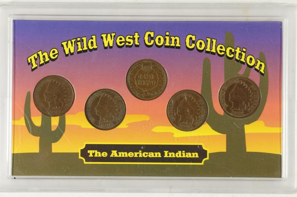 WILDWEST COIN COLLECTION WITH 5-INDIAN HEAD CENTS