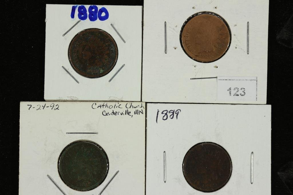 1880,81,87 & 1889 INDIAN HEAD CENTS