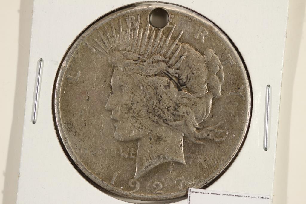1927 PEACE SILVER DOLLAR HOLED