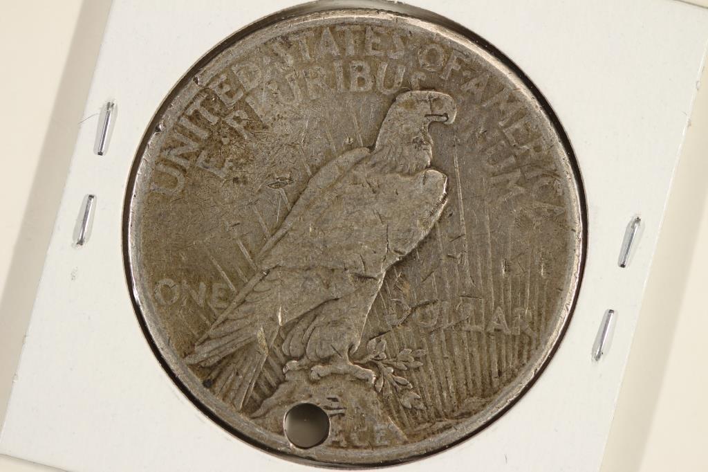 1927 PEACE SILVER DOLLAR HOLED - 2